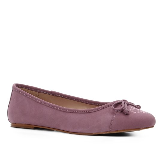Sapatilha Couro Shoestock Laço Bordado Logo Feminina - Lilás
