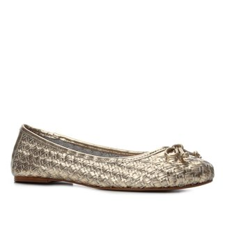 Sapatilha Couro Shoestock Laço Tressê Feminina