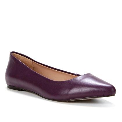 Sapatilha Couro Shoestock Lívia Bico Fino Feminina