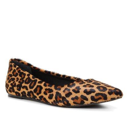 Sapatilha Couro Shoestock Lívia Leopardo Feminina