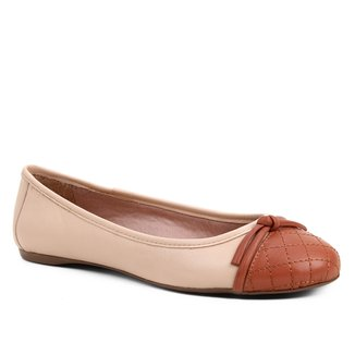Sapatilha Couro Shoestock Matelassê Bicolor Feminina