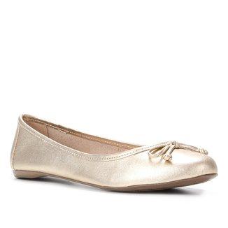 Sapatilha Couro Shoestock Metalizada Laço Feminina