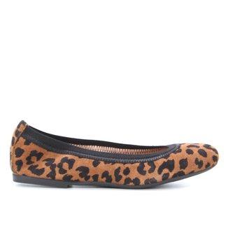Sapatilha Couro Shoestock Neide Camurça Onça Elástico Feminina