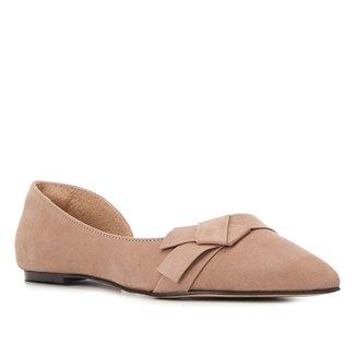 Sapatilha Couro Shoestock Nobuck Bico Fino Laço Feminina
