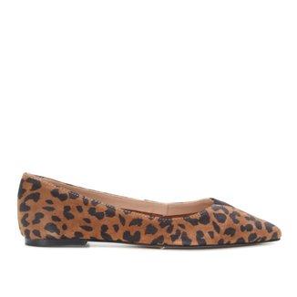 Sapatilha Couro Shoestock Onça Bico Fino Elástico Feminina
