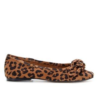 Sapatilha Couro Shoestock Onça Laço Bico Reto Feminina