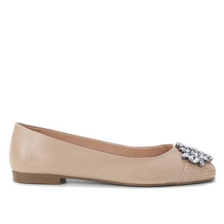 Sapatilha Couro Shoestock Pedra Strass Feminina