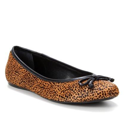 Sapatilha Couro Shoestock Pelo Cheetah Feminina