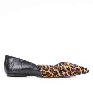 Sapatilha Couro Shoestock Pelo Onça Bico Fino Feminina