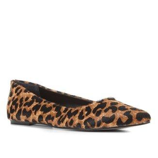 Sapatilha Couro Shoestock Pelo Onça Feminina