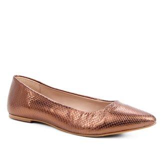 Sapatilha Couro Shoestock Python Metalizada Feminina