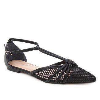 Sapatilha Couro Shoestock Salomé Tela Feminina