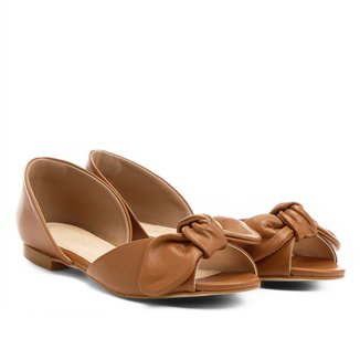 Sapatilha Couro Shoestock Semi Aberta Laço Nó Feminina
