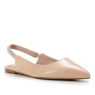 Sapatilha Couro Shoestock Slingback Bico Fino Strass Feminina