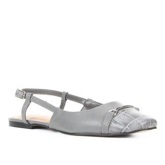 Sapatilha Couro Shoestock Slingback Feminina