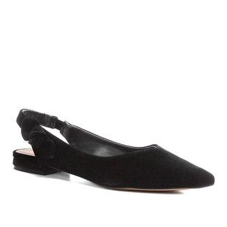 Sapatilha Couro Shoestock Slingback Laço Feminina