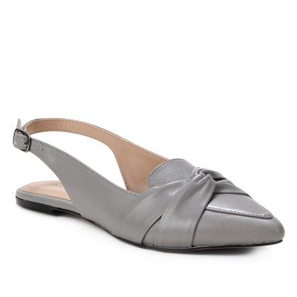 Sapatilha Couro Shoestock Slingback Nó Feminina