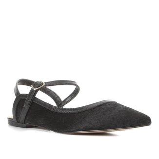 Sapatilha Couro Shoestock Slingback Pelo Feminina
