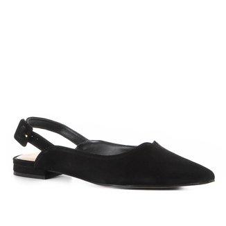 Sapatilha Couro Shoestock Slingback Recorte Nobuck Feminina