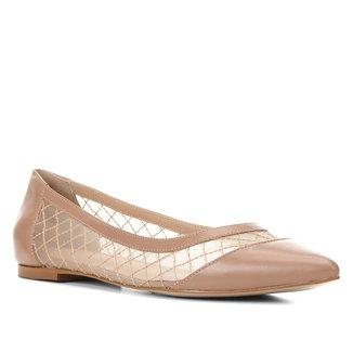 Sapatilha Couro Shoestock Tela Bordada Feminina