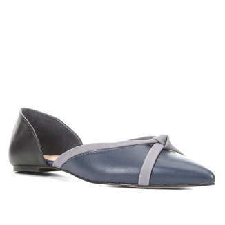 Sapatilha Couro Shoestock Tiras Bico Fino Feminina