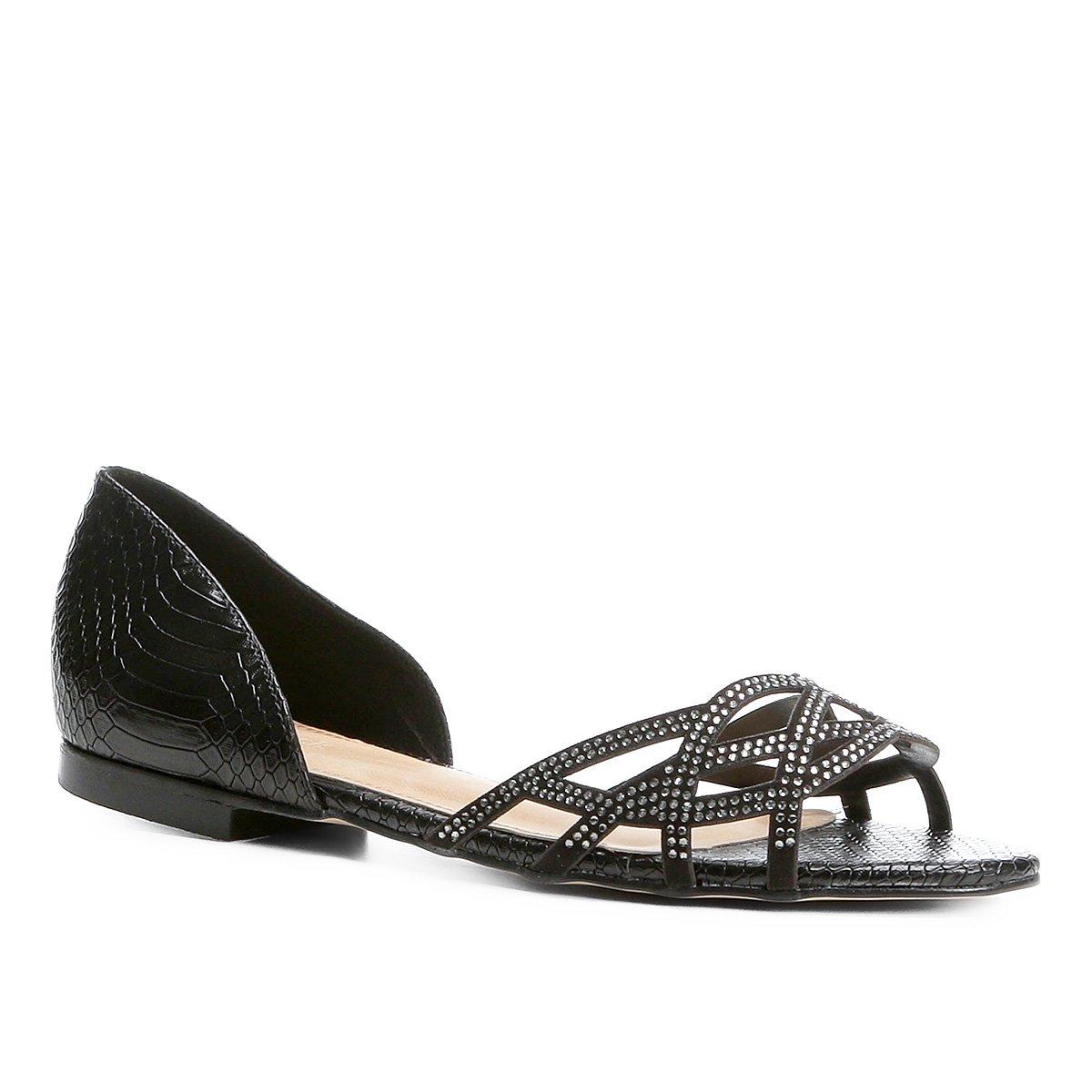 fe3bd5fec0 Sapatilha Shoestock Aberta Cristais Feminina - Compre Agora