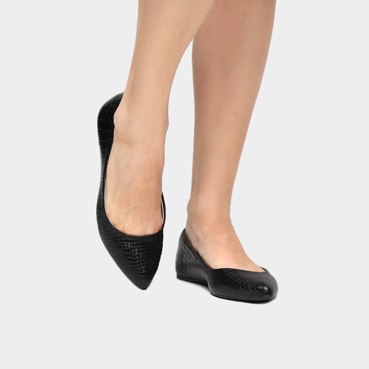 a6275c6d7 Sapatilha Shoestock Bico Fino Croco - Preto | Shoestock