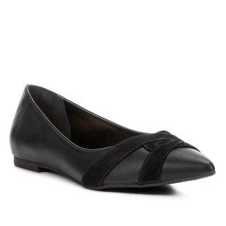 Sapatilha Shoestock Bico Fino Mix Couros Feminina