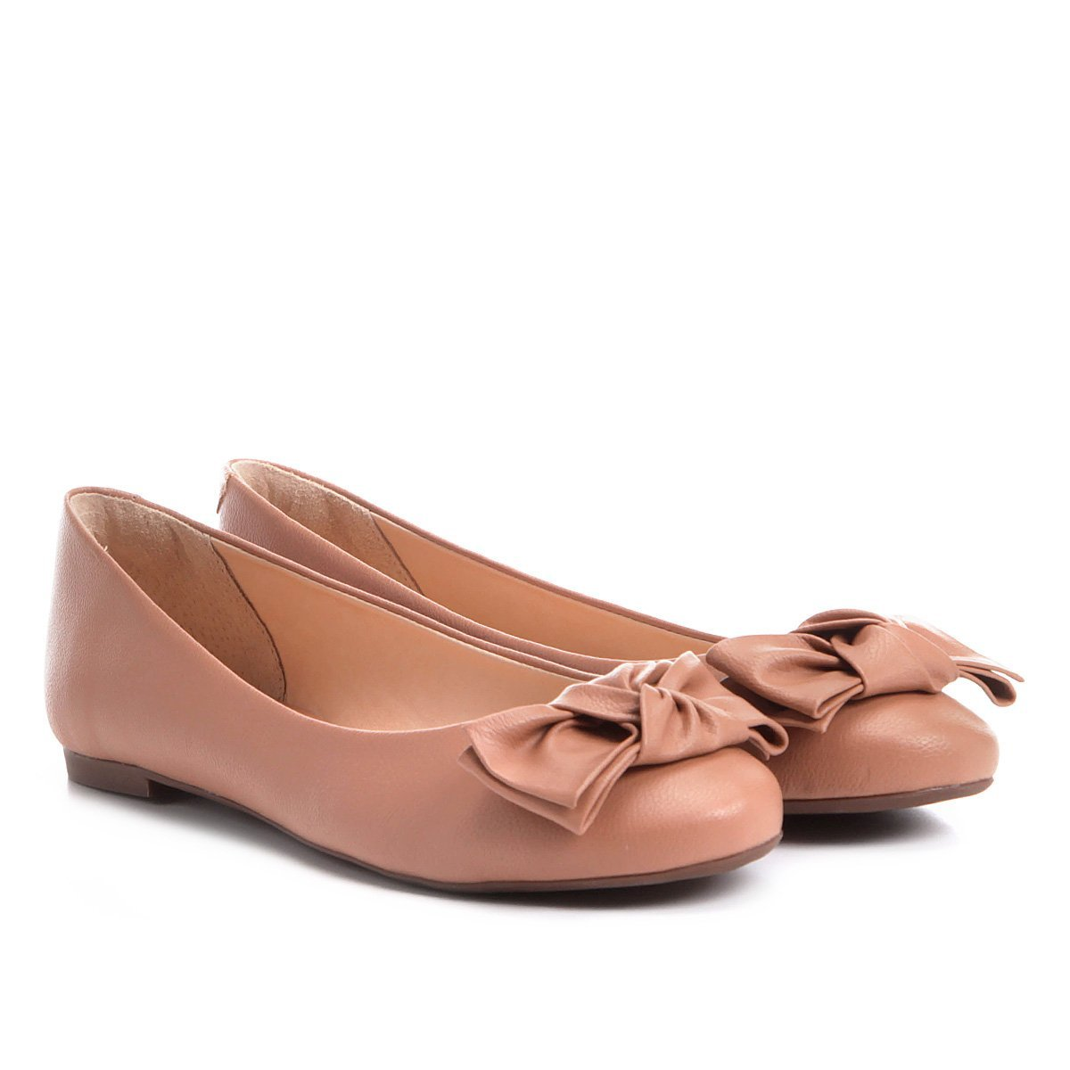 3dca9b2874 Sapatilha Shoestock Bico Redondo Laço Feminina - Nude - Compre Agora ...