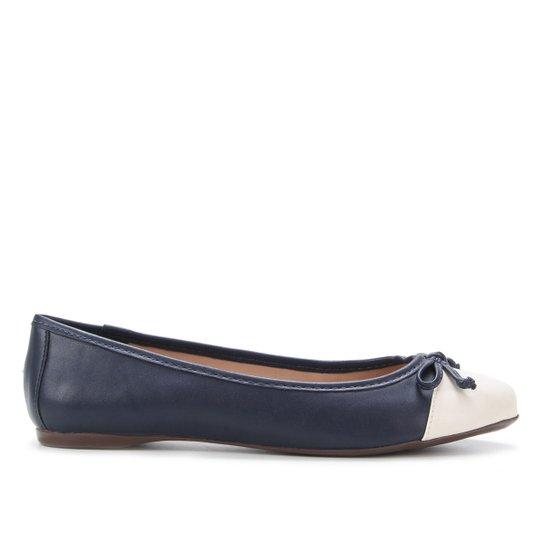 Sapatilha Shoestock Bico Redondo Laço Feminina - Off White+Azul