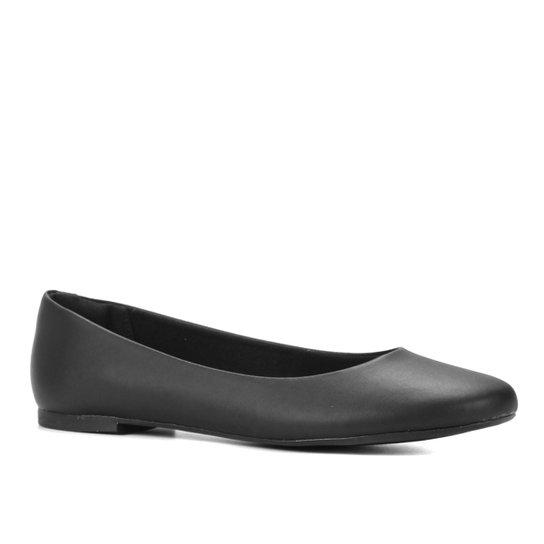 Sapatilha Shoestock Bico Redondo Lisa Feminina - Preto