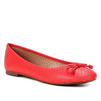 Sapatilha Shoestock Bico Redondo Perfurado Laço