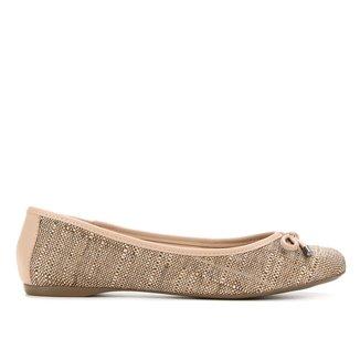 Sapatilha Shoestock Bico Redondo Tecido Naturalle Feminina