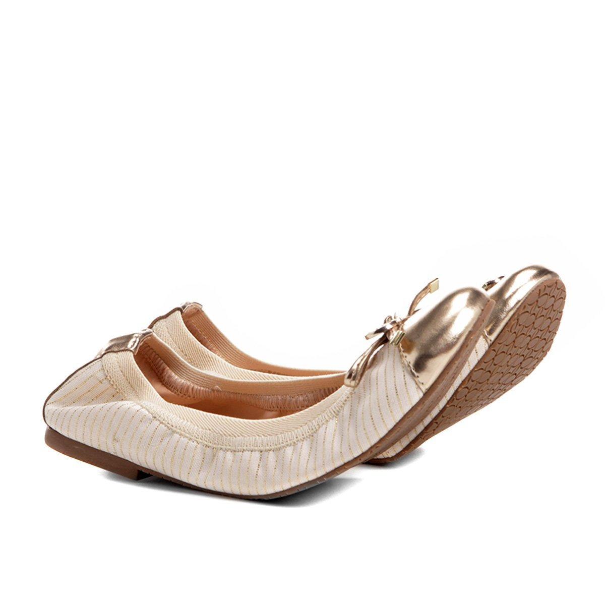 611ae1b1164 Sapatilha Shoestock Elástico Recorte Metalizado Feminina - Bege - Compre  Agora