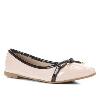 Sapatilha Shoestock Laço Bico Fino Verniz Feminina