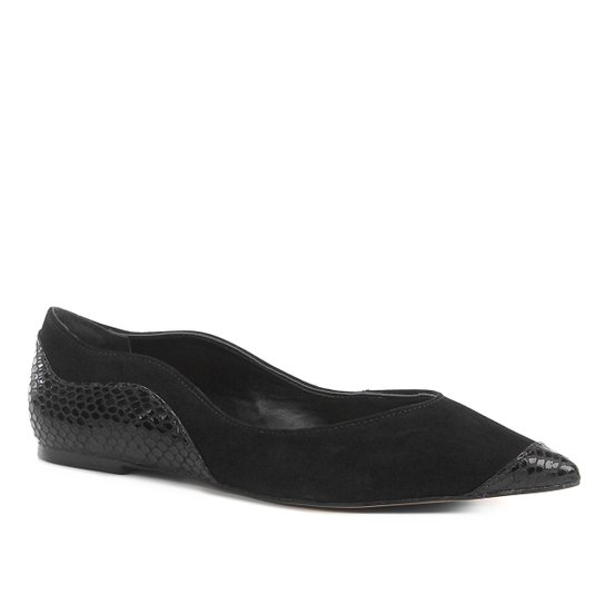 Sapatilha Shoestock Nobuck Bico Fino Recortes Feminina - Preto