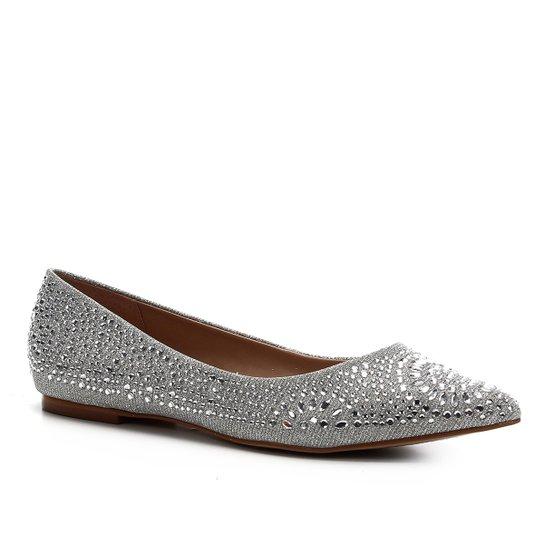 Sapatilha Shoestock Noiva Lurex Cristais Feminina - Prata