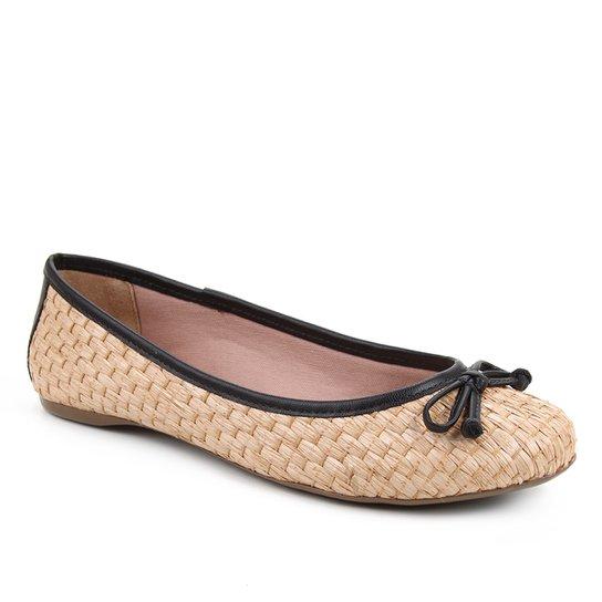 Sapatilha Shoestock Ráfia Laço Feminina - Preto