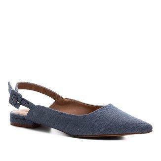 Sapatilha Shoestock Slingback Jeans Feminina