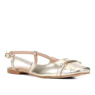 Sapatilha Shoestock Slingback Metalizada Feminina