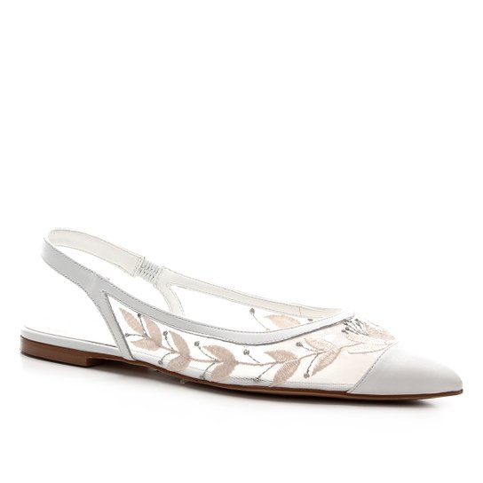 Sapatilha Shoestock Slingback Noiva Feminina - Branco