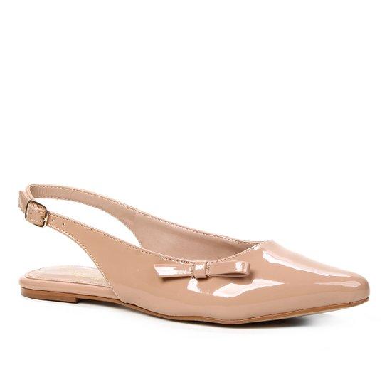 Sapatilha Shoestock Slingback Verniz Naked Feminina - Noz