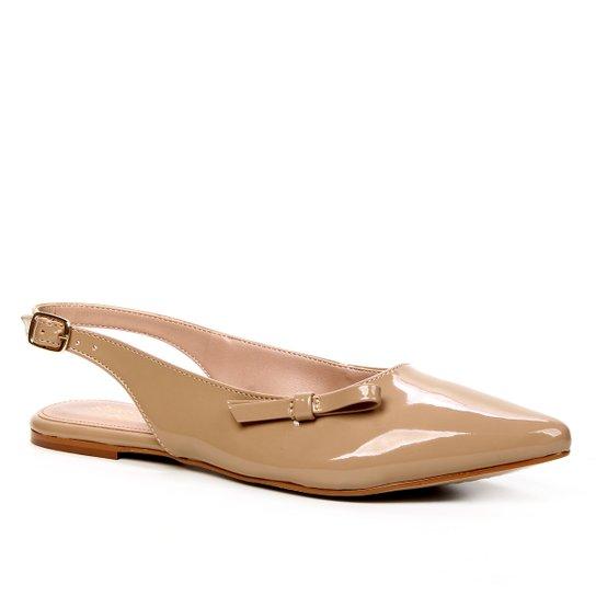 Sapatilha Shoestock Slingback Verniz Naked Feminina - Castanha
