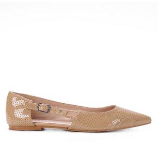 Sapatilha Shoestock Verniz Bico Fino Fivela Lateral Feminina
