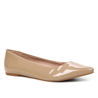 Sapatilha Shoestock Verniz Bico Fino Naked Feminina