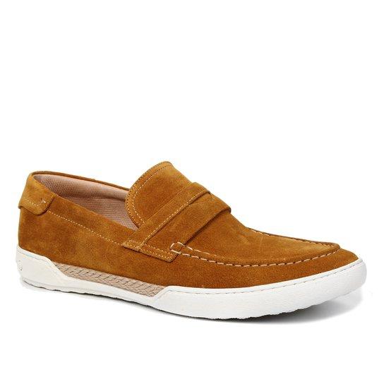 Sapato Casual Couro Shoestock Camurça Tira Masculino - Mostarda