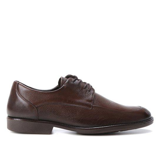 Sapato Casual Couro Shoestock Confort Cadarço Masculino - Café