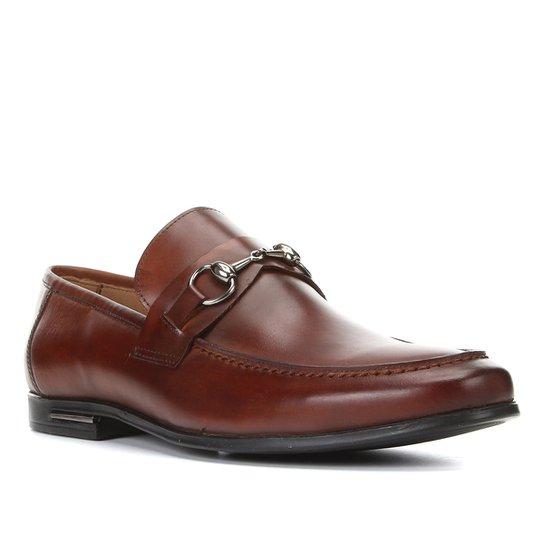 Sapato Casual Couro Shoestock Detalhe Metal Masculino - Cacau