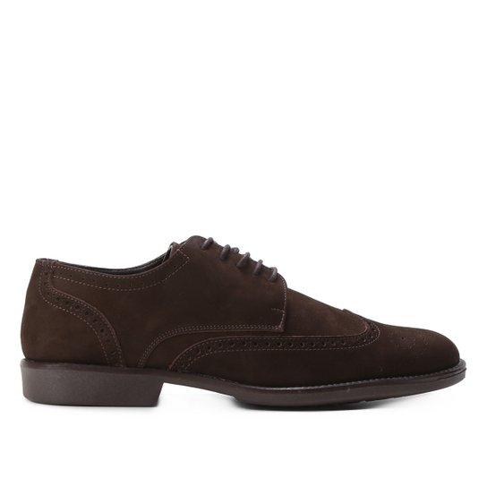 Sapato Couro Shoestock Cadarço Brogue Feminino - Café