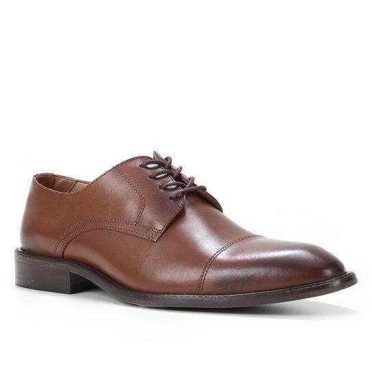 Sapato Social Couro Shoestock Bico Redondo Masculino - Café